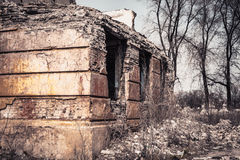 Ruined building. Old ruined school building walls Royalty Free Stock Photo