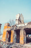 Ruined building. Ruined school building with blue sky background Royalty Free Stock Image