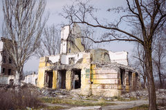 Ruined building. Ruined school building in early spring Royalty Free Stock Photography