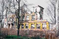 Ruined building. Ruined school building. Toned style photo Royalty Free Stock Photos