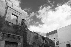 Ruined Building and Window. Derelict Buildings with Window, Sky and Clouds Royalty Free Stock Photography