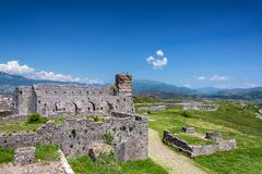 Ruined Buildings in Rozafa Castle royalty free stock photo