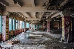 Ruined canteen for workers in abandoned Voronezh excavator plant stock image