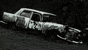 Ruined car. Ruined old car Stock Images