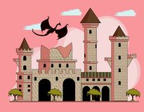 Ruined castle stock illustration