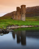 Ruined Castle - Ardvreck. The remains of the 15th century Adrvreck Castle, on the shores of Loch Assynt, Scotland Royalty Free Stock Photography