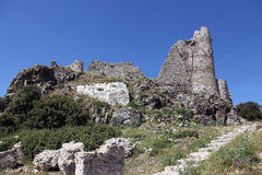 The ruined castle of Asklipion, Rhodes Royalty Free Stock Photos