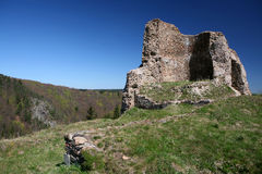 Ruined castle in countryside. Scenic view of ruined medieval castle in countryside with cliffs and blue sky background Stock Photography