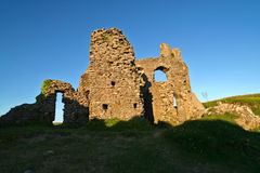 Ruined castle, evening light. Pennard castle in the Gower peninsula, wales UK stock photography