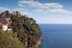 Ruined castle on hill Parga Greece summer season landscape Stock Images