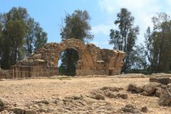 Ruined castle Saranta Kolones in Cyprus Royalty Free Stock Images