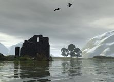 Ruined Castle on a Scottish Loch Royalty Free Stock Photography