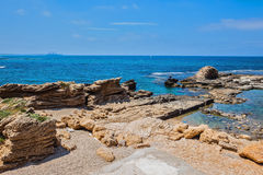 The ruined castle walls in  Mediterranean sea Royalty Free Stock Photography