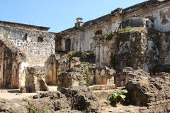 Ruined Cathedral, Antigua Guatemala. Destroyed rooms in the ruins of the historical cathedral in Antigua, Guatemala, which was destroyed by an earthquake and is stock photography
