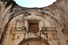 Ruined Cathedral, Antigua Guatemala. High roof arches and carvings in the ruins of the historical cathedral in Antigua, Guatemala, which was destroyed by an royalty free stock photos
