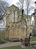 Ruined Church. At Yorkshire museum, England stock image
