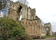 Ruined Church. At Yorkshire museum, England stock photos