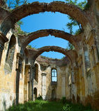 The ruined church. Of the Holy Spirit in Kupinovo that in World War II suffered extensive damage was not restored until today stock photos