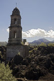 Ruined church, Mexico. Church ruined by lava flow near Uruapan, Mexico Royalty Free Stock Photography