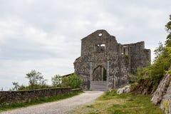 Ruined church in old Kastav village, Istria. Croatia royalty free stock photography