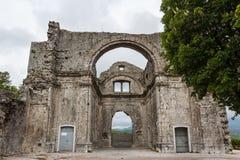 Ruined church in old Kastav village, Istria. Croatia stock photo