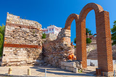 Ruined church in old Nessebar town, Bulgaria Royalty Free Stock Photography