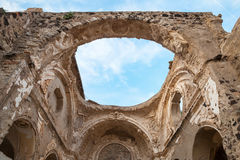 Ruined church without roof, Ischia, Italy. Ruined church interior without roof under blue cloudy sky, Ischia Porto, Bay of Naples, Italy Stock Photography