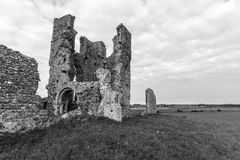 Ruined church of st James Bawsey in B&W Royalty Free Stock Images