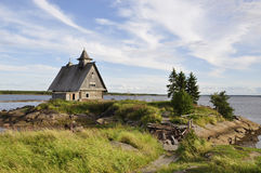 Ruined Church at sunset, this is the place where they filmed the movie the Island by Russian Director Pavel Lungin, Kem Stock Photos