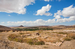 Ruined city in beautiful valley in the Middle East with low mountains Royalty Free Stock Image