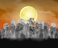 Ruined city building silhouette with moon and red sky stock illustration