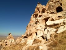 Ruined City in Cappadocia. Beautiful view of a ruined city in Cappadocia stock photos