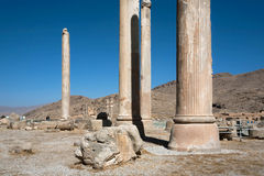 Ruined city and columns of palace in Persepolis Stock Image