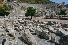 Ruined city of Ephesus in Turkey, founded on 10th century BC. Royalty Free Stock Photos