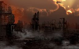 Ruined city with smoke. Twilight over ruined city with white smoke Royalty Free Stock Photo