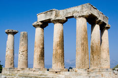 Ruined columns of ancient corinth. Marble columns of ancient corinth greece antique ruins Stock Photo