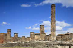Ruined columns in Pompeii Royalty Free Stock Photo