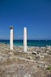 Ruined columns at Tharros Stock Image