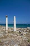 Ruined columns at Tharros Stock Image