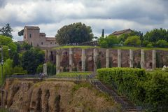 Ruined columns at Trajan`s Market stock photos