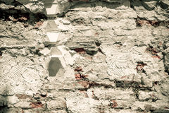 Ruined concrete wall with concrete background brown vintage tone Stock Photos