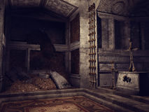 Ruined crypt with bones Royalty Free Stock Photography