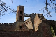 Ruined Dilsberg Castle. Looking up at the remains of the original tower of Dilsberg Castle, Germany Stock Photos
