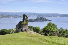 Ruined folly at Mount Edgcumbe Park near Plymouth, royalty free stock photo