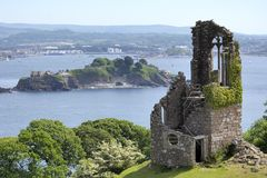 Ruined folly at Mount Edgcumbe Park near Plymouth, stock image