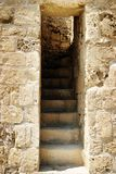 Ruined Fort Steps. Old ruined stone stairway in a ruined fort in Pafos Cyprus Stock Photo