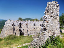 Ruined fortification walls of the Castle of Cachtice stock photo