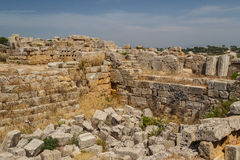 Ruined fortifications in the ancient city of Selinunte Royalty Free Stock Image