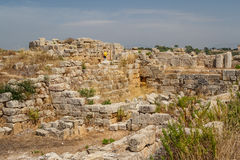 Ruined fortifications in the ancient city of Selinunte Stock Photos