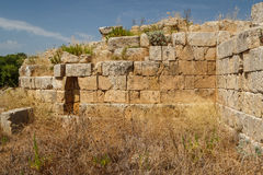 Ruined fortifications in the ancient city of Selinunte, Sicily Royalty Free Stock Photos